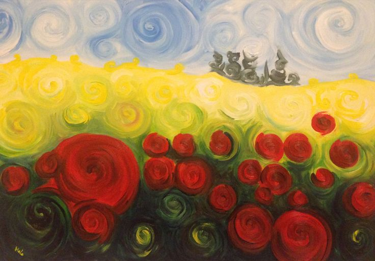 Dipinti ad olio: Campo di papaveri