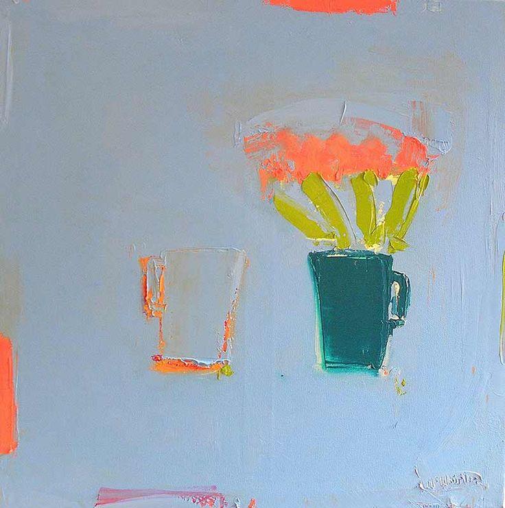 Junction Art Gallery - Alison McWhirter 'Pinks Against Lavender Blue in a Bottle Green Jug' http://www.junctionartgallery.co.uk/artists/painting/alison-mcwhirter