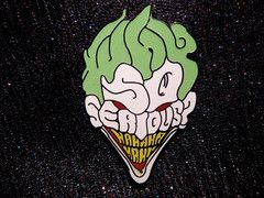 "Why So Serious (2"" Cloisonne Brass with hard enamel hat pin) http://wearithatpins.com/ #darkknight #joker"