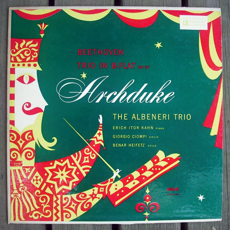 Designer: George Maas   Archduke (Trio in B Flat, Op. 97) by Beethoven. Featuring The Albeneri Trio.  Mercury Records, c. 1953 (MG-10140).  12.5 x 12.5""