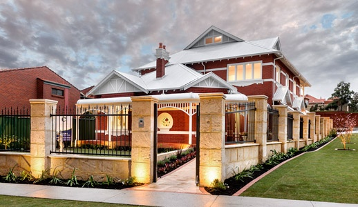Character renovation in Perth, Western Australia by Cambuild. Wood floors | restored timber fireplaces | stone floors | stone bench tops | limestone fence | timber staircase | renovation | luxury | quality | custom design