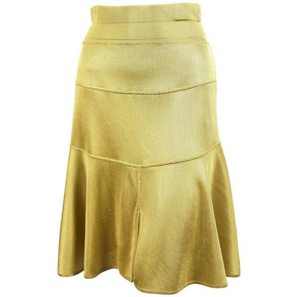 Preowned 1980's Azzedine Alaia Yellow Seamed Skirt With High Waist (325 AUD) ❤ liked on Polyvore featuring skirts, flare skirts, yellow, skater skirts, high waisted skater skirt, beige skater skirt, flared skirts and high-waist skirt