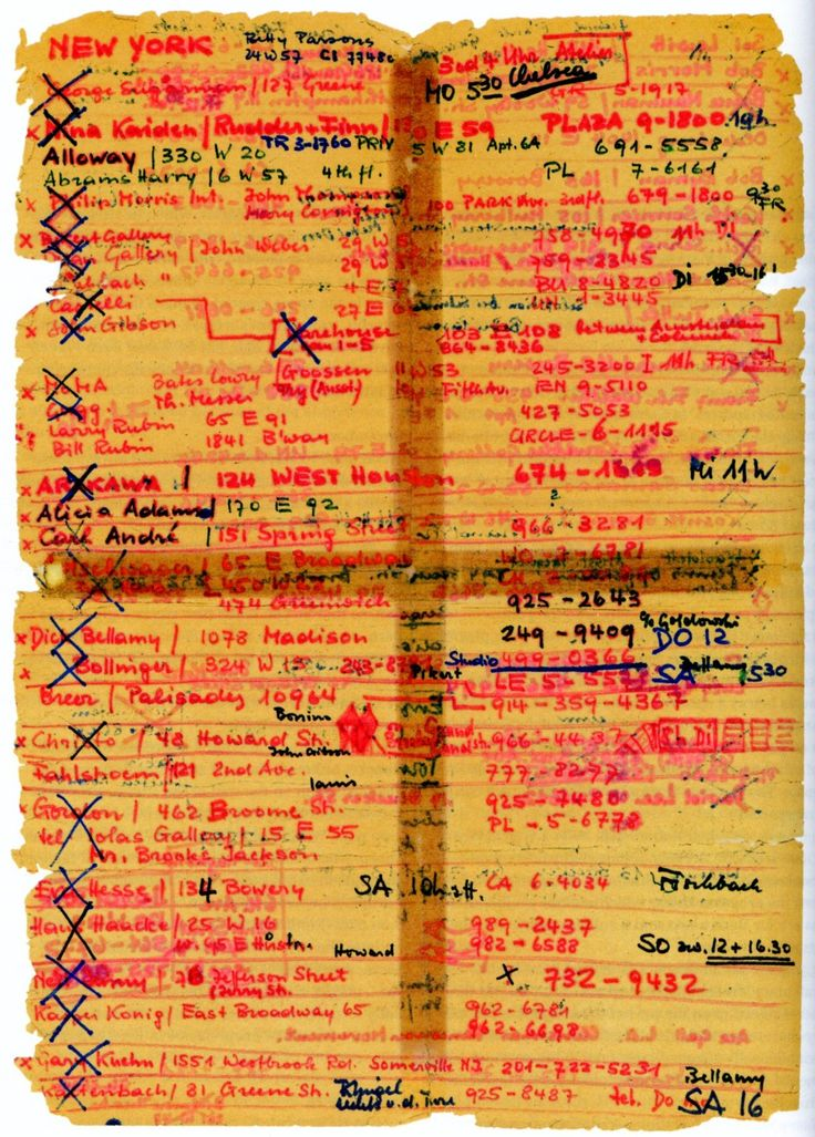 Harald Szeemann's prodigious phone list during his travels in the U.S., studying up for his exhibition When Attitudes Become Form, 1969
