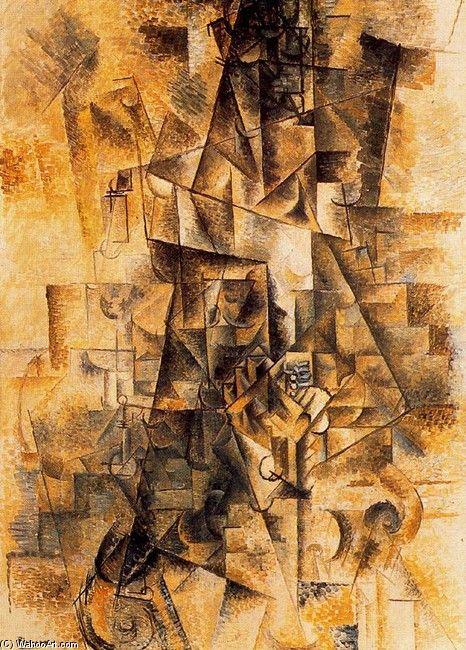 """Pablo Picasso """"El acordeonista"""" 1911 (Cubismo Hermético)"""