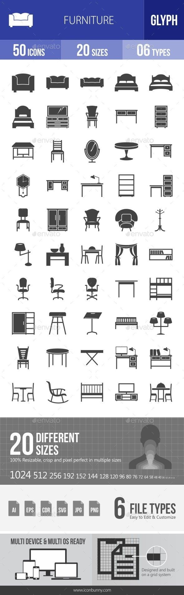 Furniture Glyph Icons — Transparent PNG #studying desk icon #curtains icon • Available here → https://graphicriver.net/item/furniture-glyph-icons/13304937?ref=pxcr