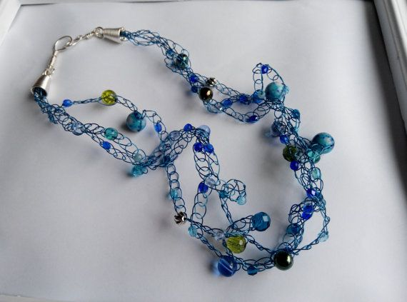 handcrafted crocheted beaded necklace blues and by terramor