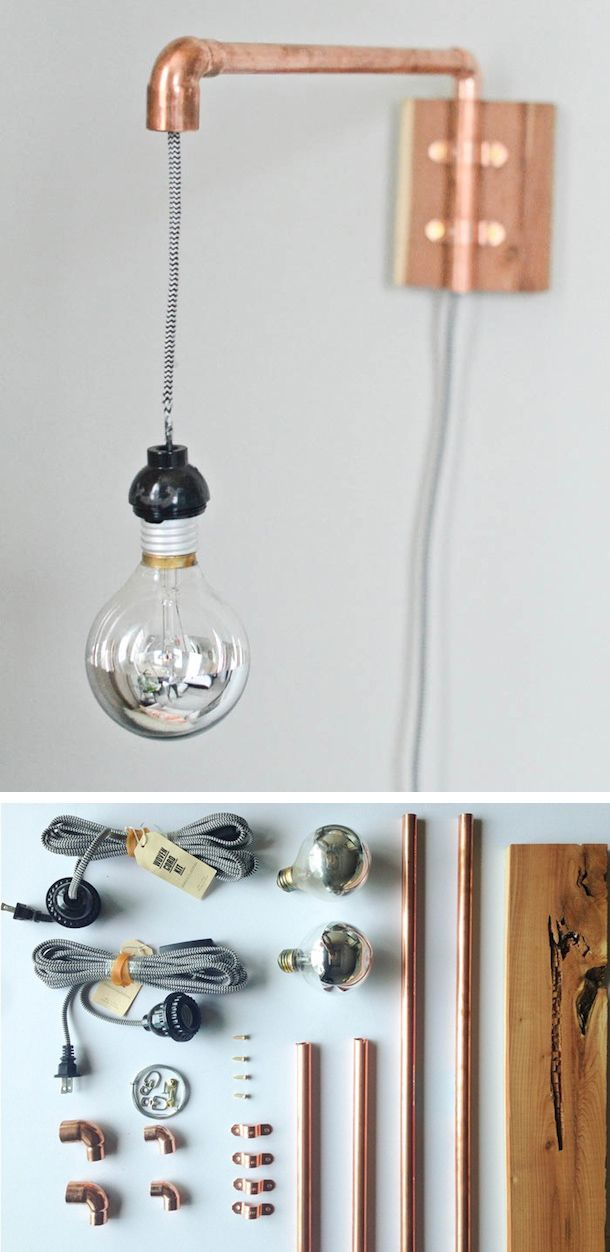Lámpara de pared con tubos de cobre                                                                                                                                                      Más