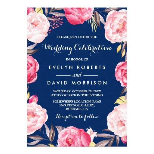 #weddinginvitation #weddinginvitations (Modern Wedding Celebration Floral Wreath Navy Blue Card) #Blue #Botanical #Celebration #Classy #Elegant #FloralWreath #Flowers #Garden #Gold #Modern #Pink #Watercolor #Wedding is available on Custom Unique Wedding Invitations  store  http://ift.tt/2cipshp
