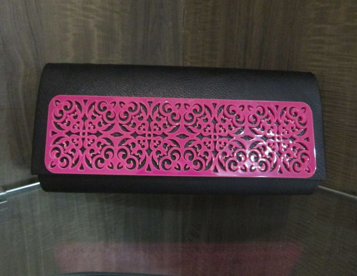 #black #faux #leather #pink #acrylic #clutch #frame #plate #purse #fashion