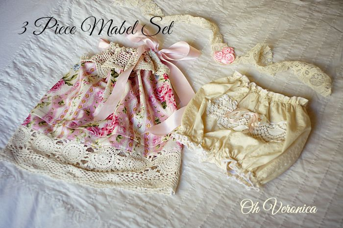 Vintage style 3 piece Mabel baby dress, bloomer and headband set. Pink floral cotton and embroidered natural cotton. Handmade by www.ohveronica.com.au