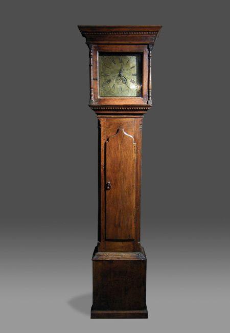 OAK LONGCASE CLOCK.  Antique Welsh 30-hour longcase clock with brass dial by David Mathews of Carmarthen, circa 1790.