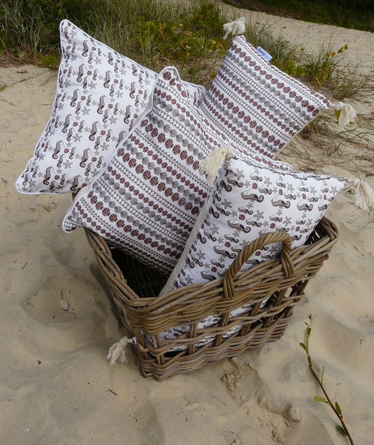 The Earthy Cushion range - includes seahorses and shells