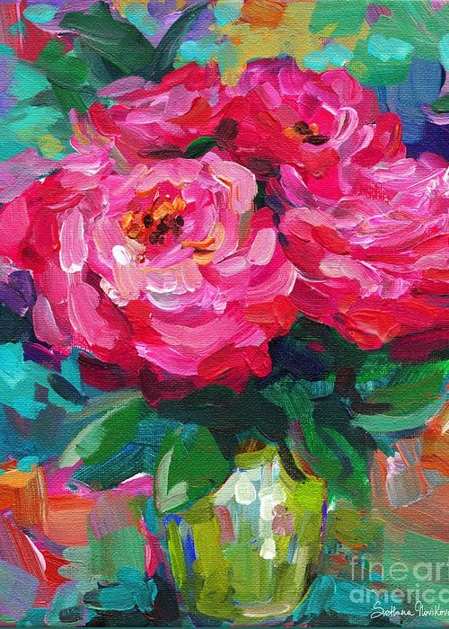 Flowers Greeting Card featuring the painting Vibrant Peony Flowers In A Vase Still Life Painting by Svetlana Novikova