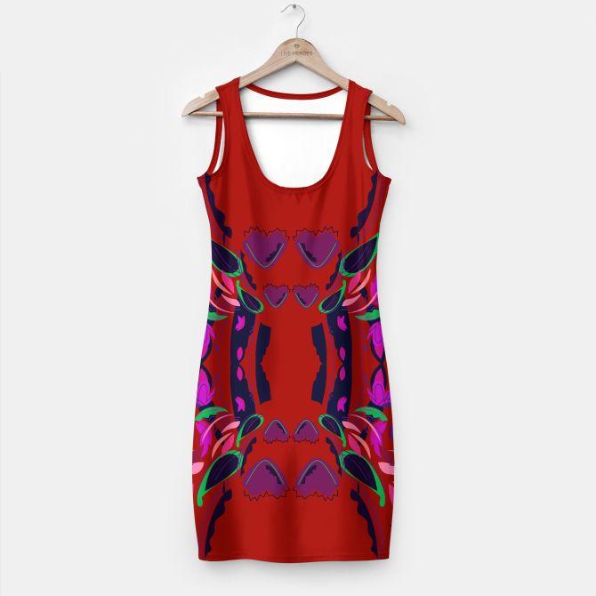 Dress MINI with Floral Mandala art / RED, PURPLE Folk