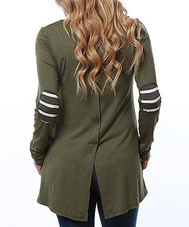 This Olive Striped Elbow Patch Tunic - Plus is perfect! #zulilyfinds