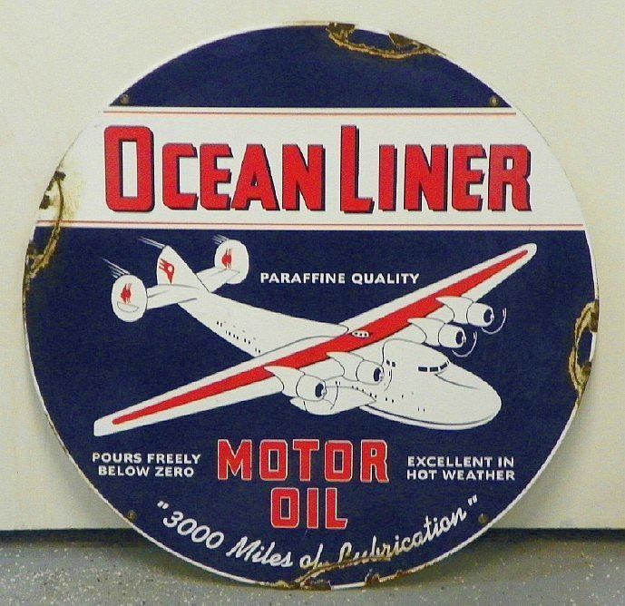 """Ocean Liner Motor Oil Porcelain Sign (Vintage 1940 Gas Station Display Sign, Antique Gasoline Advertising Signs, """"Paraffine Quality"""", """"Pours Freely Below Zero"""", """"Excellent in Hot Weather"""", """"3000 Miles of Lubrication"""")"""