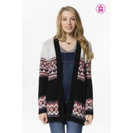 Ivory, black & coral print knit cardigan