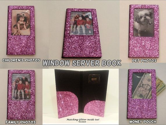 WINDOW - SMALL FINE Glitter Bling Waitstaff Server Book Decorative and Super Shiny!!!*