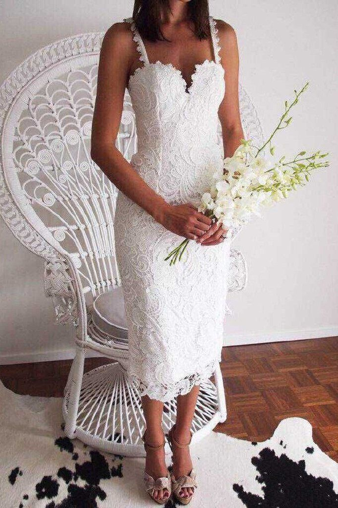 Chic Scalloped Crochet Lace Shoulder-straps Dress