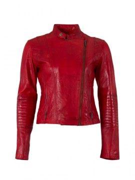 hElium Dámská kožená bunda F1081_Red