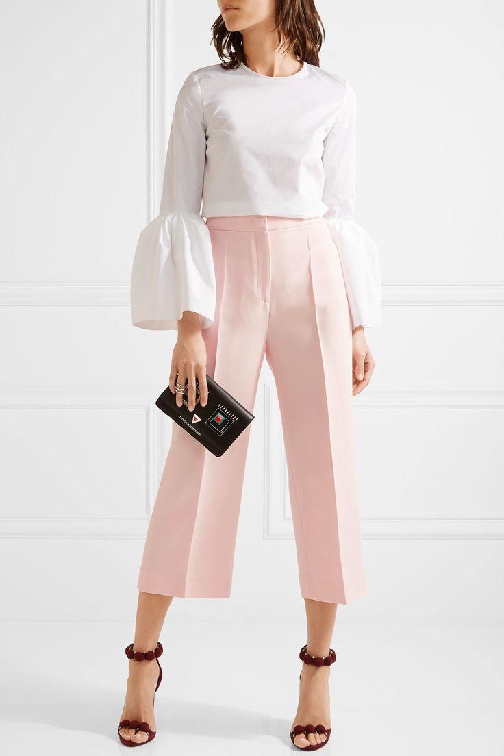Fendi | Cropped wool and silk-blend gazar wide-leg pants | NET-A-PORTER.COM