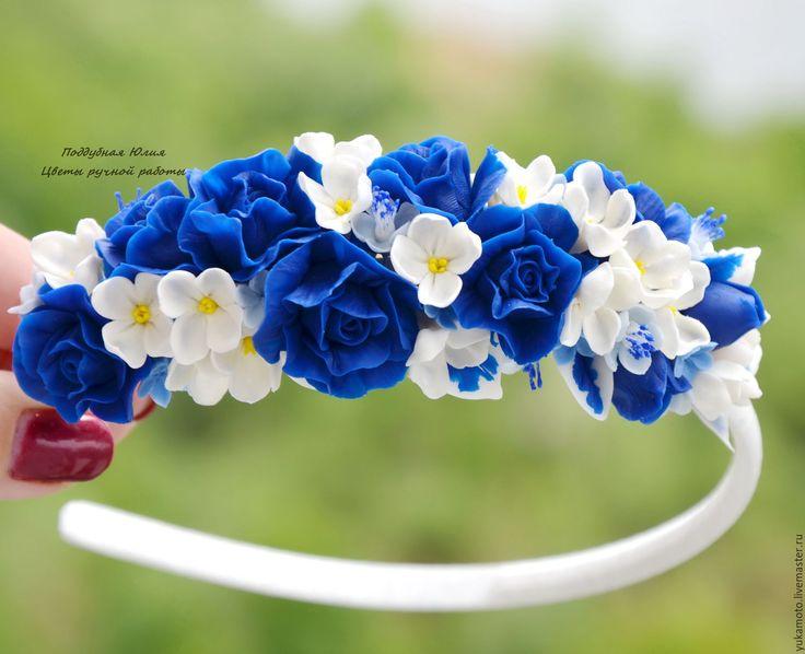 """Купить """"Морской бриз"""" обруч - подарок, белый, обруч с цветами, синие розы, украшение в волосы"""