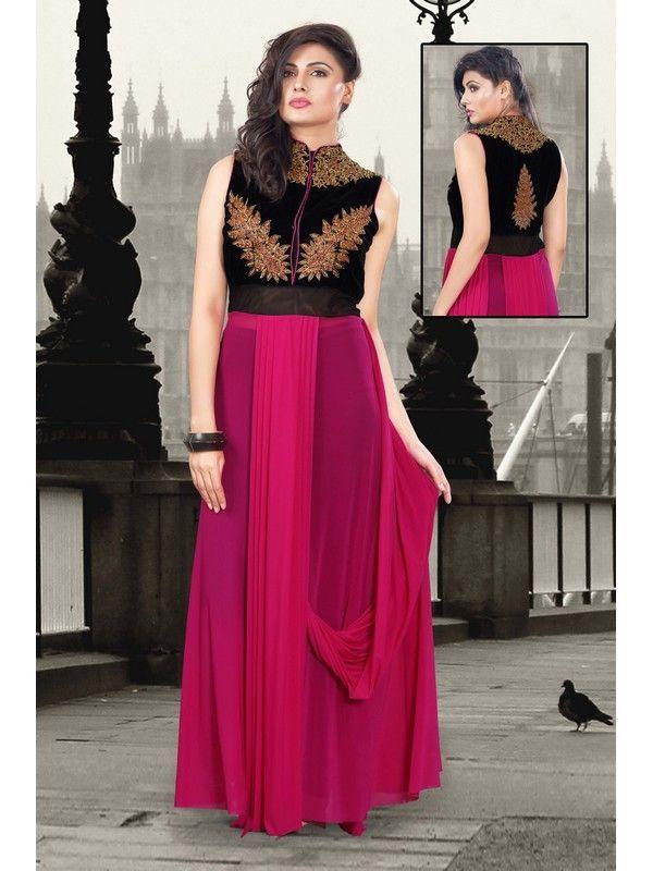 Maroon/Black Partywear Georgette Women Gown Price INR 18013