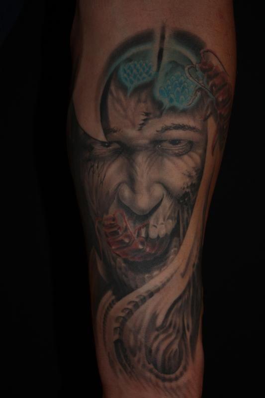 Off the Map Tattoo : Tattoos : Evil Death : Evil face - bio mech
