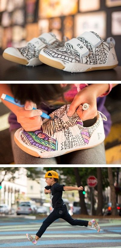 Watch as your kids create a masterpiece in wearable art. This award-winning shoe collection, a collaboration with 'arte sempre', will bring out the inner Basquiat or Botticelli in every kid.