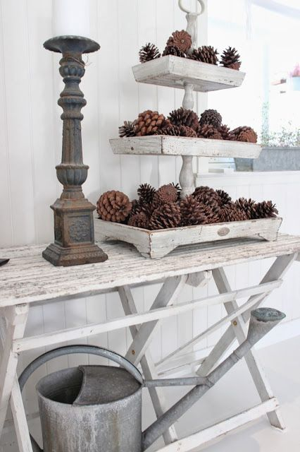 Vintage white and pine cone display