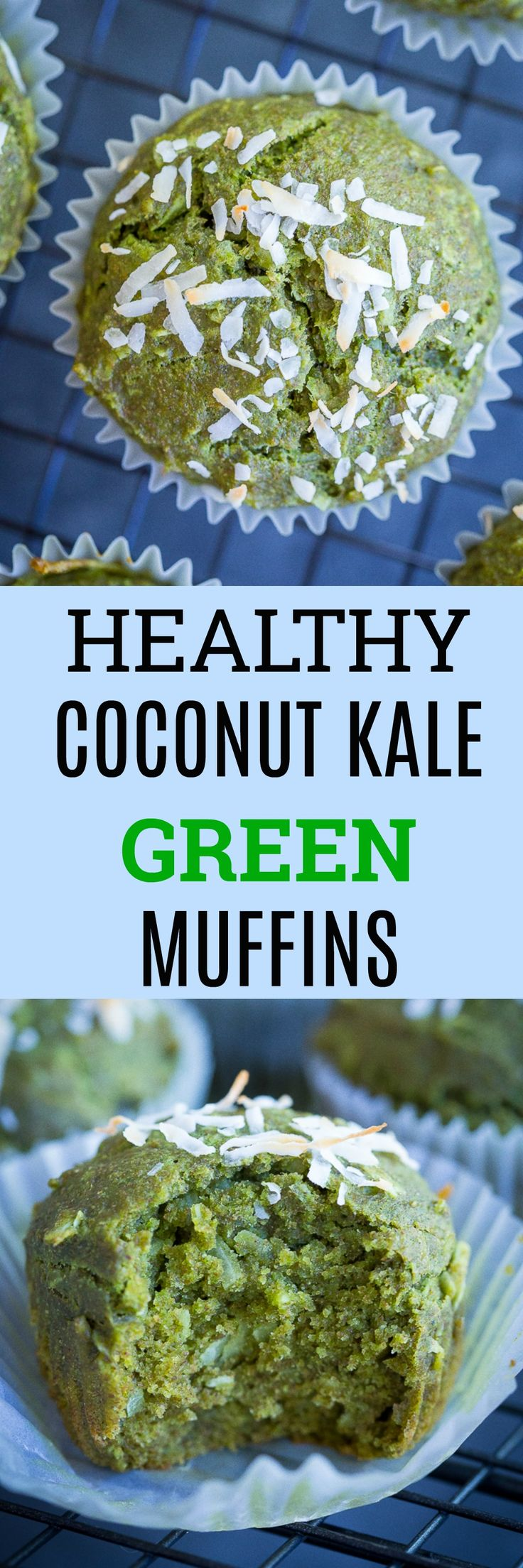 These Healthy Coconut Kale Green Muffins are packed with kale but you would never know it by the taste!  They're vegan, refined sugar free and perfect for sneaking in more veggies to your children's diet!  Freezer friendly too!