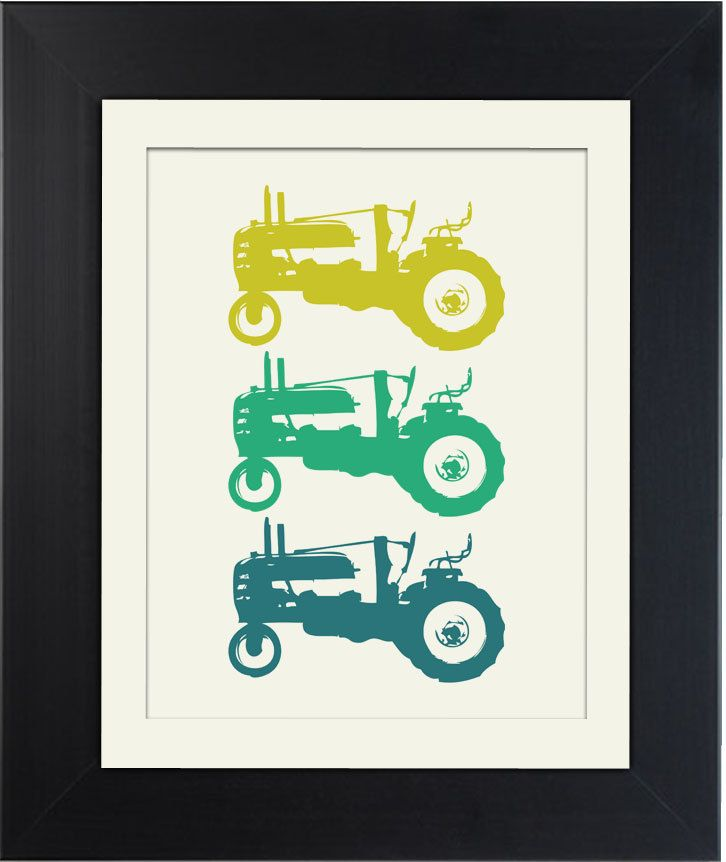 Three Tractors Yellow Green and Blue Tractor by VicariousClothing, $10.00