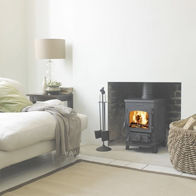 Like the log burner with brick inside and clean contemporary finish to the walls