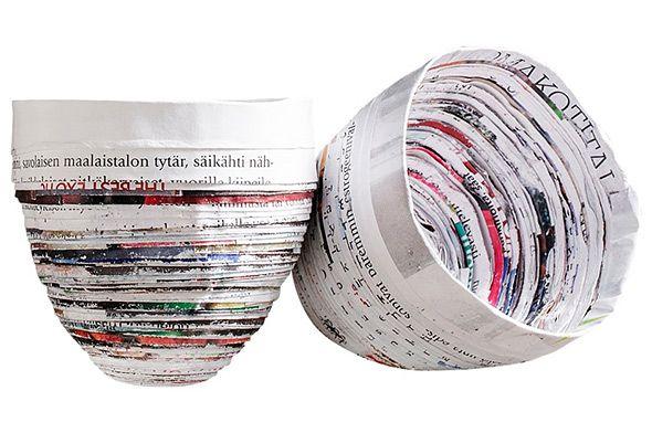 Askartele kulho vanhoista aikakauslehdistä