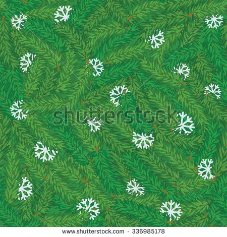 Vector seamless green pine branch with white snowflakes chaotic background. Winter pattern - stock vector