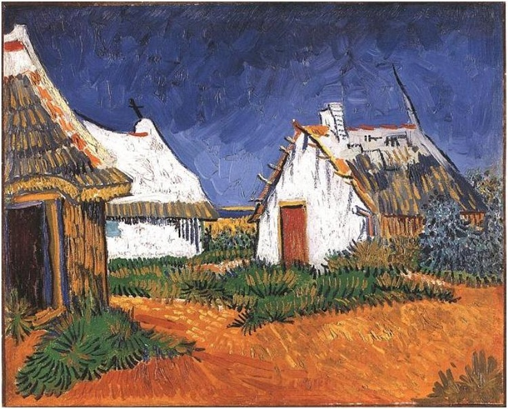 Van Gogh : Three White Cottages in Saintes-Maries 1888. The fishing cottages provided a place to stay overnight and something to paint more like the peasant cottages of Drenthe.