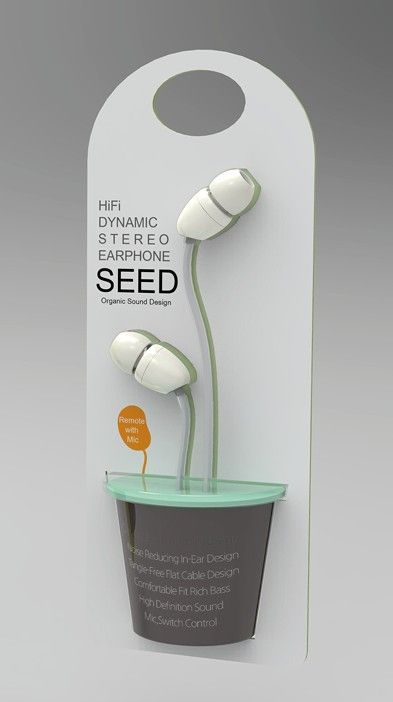 The way this packaging is designed is so creative and cute. The earbuds look like a plant in a pot and it's just different to look at. The simple colors blend well and attract the eye.