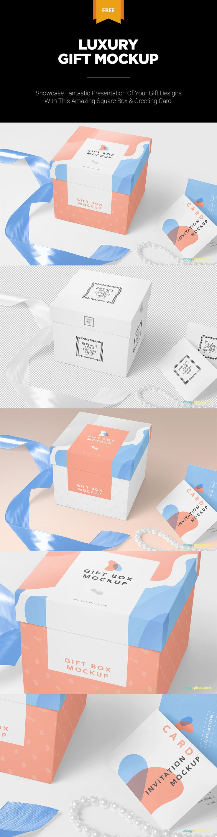 Click on the picture to download this freebie. #free #freebie #mockup #psd #photoshop #gift #box #packaging #greeting #card