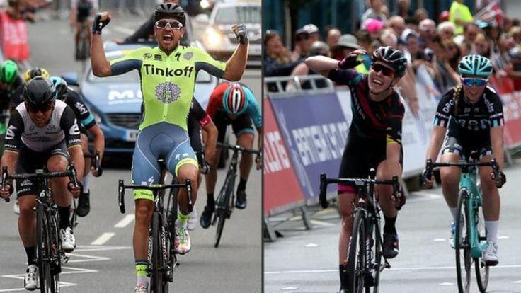 Adam Blythe pips Mark Cavendish to the post .. and Hannah Barnes win GB Road Race i Stockton on Tees