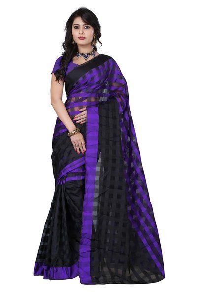 New Polycotton Printed Black & Purple Saree By Gokul Vastra