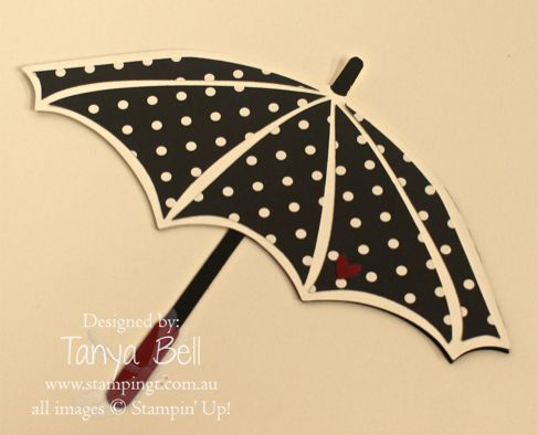 Stamping T! - Umbrella Card  by Tanya Bell,  Umbrella card using template created for my Parasol card as a base.