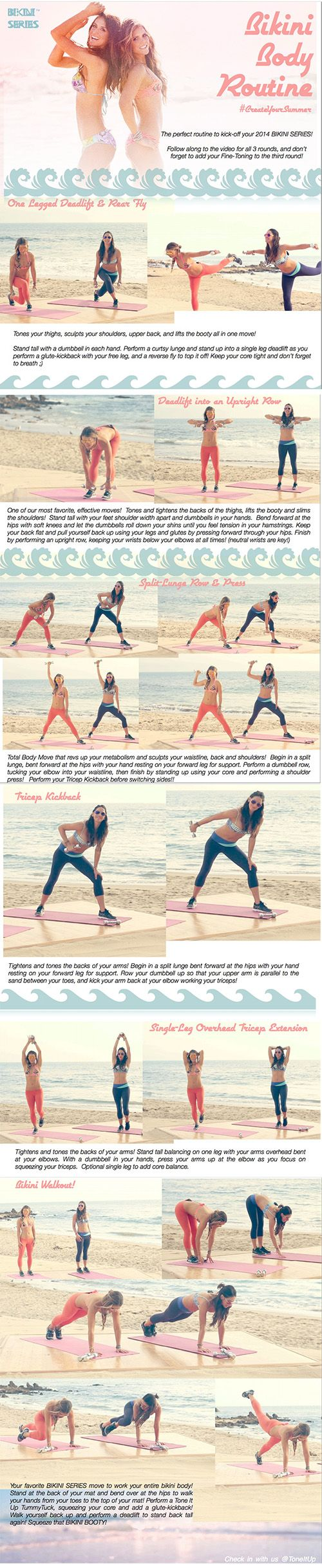 Bikini body workout from week one - I did this this evening and it really was awesome. Loved that they do a lot of compound moves and yet I could do everything!