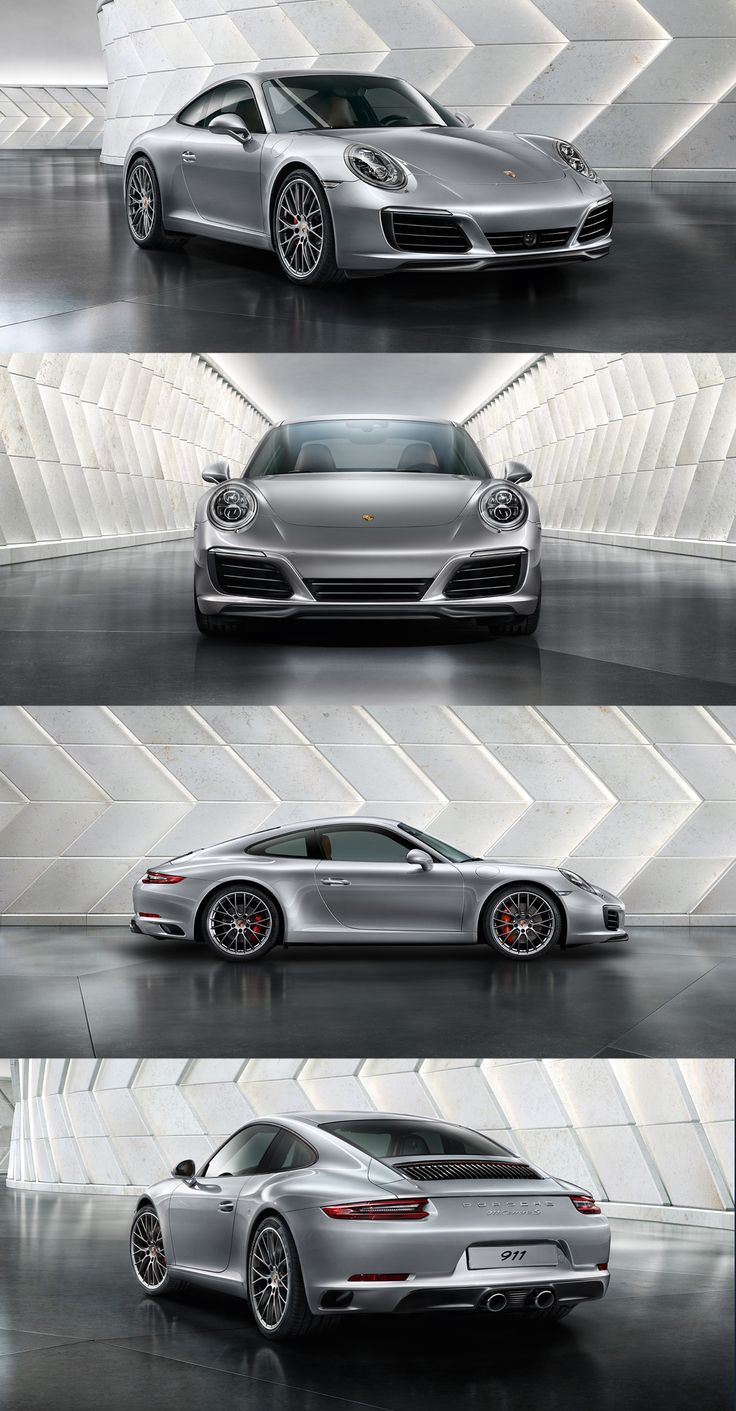 The new Porsche 911 Carrera S. New sports exhaust system with central tailpipes announces where the 911 feels at home: on the racetrack & on the road.  *Fuel consumption in accordance with EU 6: 911 Carrera 2 models: Combined: 8.8-7.4 l/100 km (32.1-38.2 mpg); CO2 emissions: 202-169 g/km.