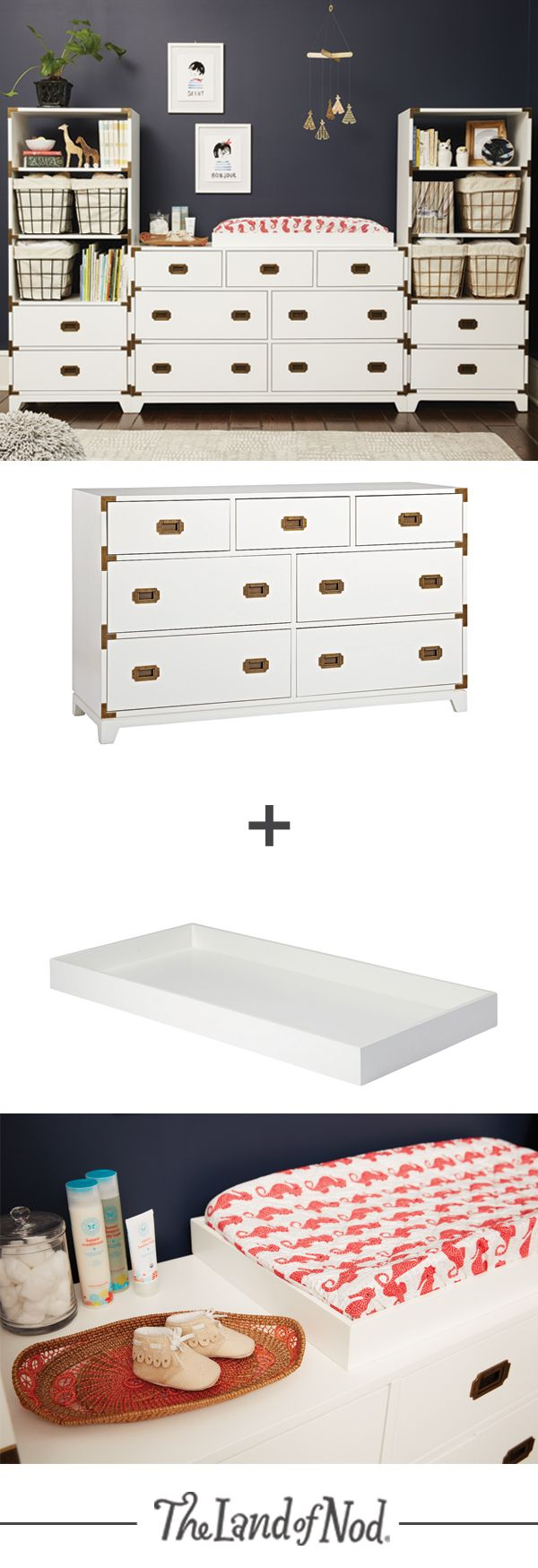 Get to know the two newest members of our Campaign Collection, the wide dresser and bookcase. Stylish and versatile, these pieces will feel right at home in a nursery or a living room. Creating an instant changing table for your baby is easy by placing a changing table topper on a wide dresser. Then, add a bookcase to hold all of your baby's essentials.
