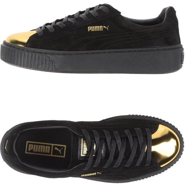 Puma Low-tops & Trainers (305 BRL) ❤ liked on Polyvore featuring shoes, sneakers, black, puma shoes, leather shoes, black sneakers, black leather sneakers and animal trainer