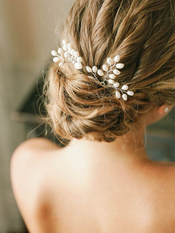 Wird pearls hair pins pearl wedding hair pins by louloudimeli
