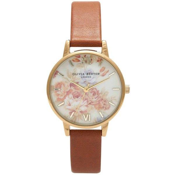 Olivia Burton Women's Wonderland Flower Motif Leather Strap watch