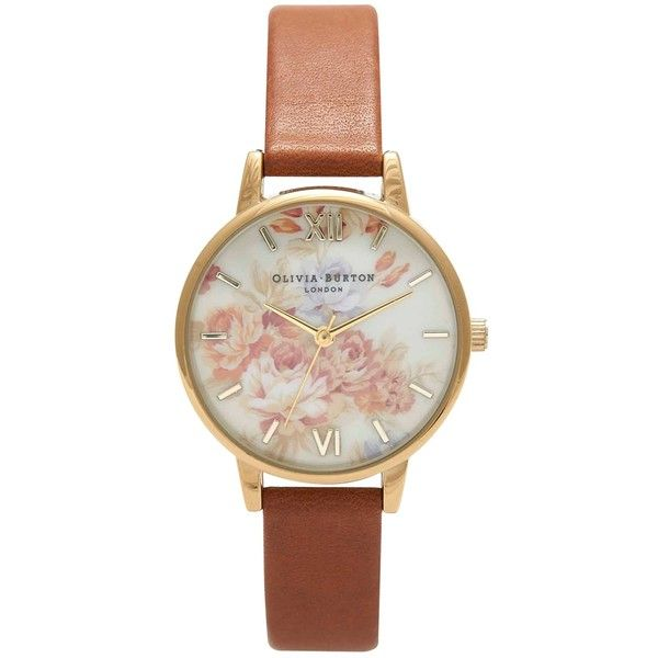 Olivia Burton Women's Wonderland Flower Motif Leather Strap Watch, Tan found on Polyvore