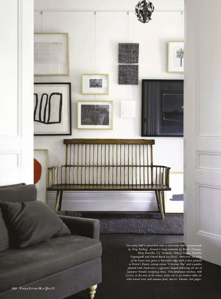 nice use of a picture rail  & modern framed art
