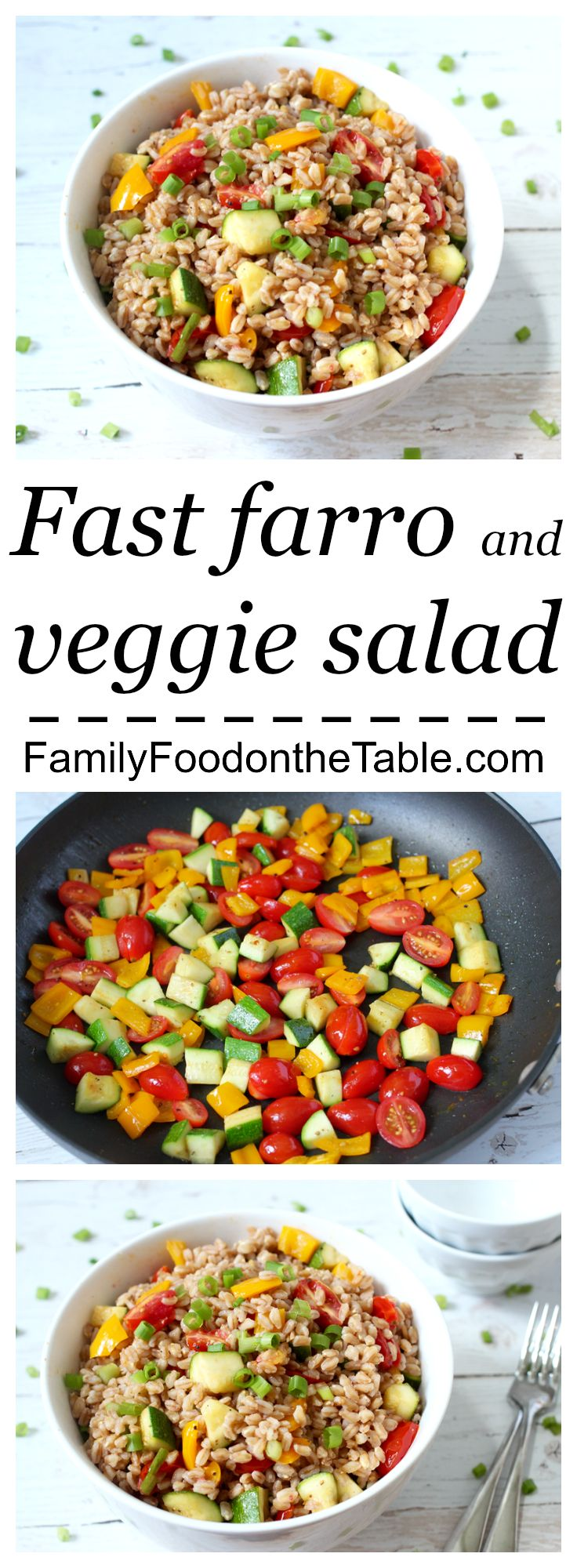 An easy veggie-packed farro salad, ready in 15 minutes!